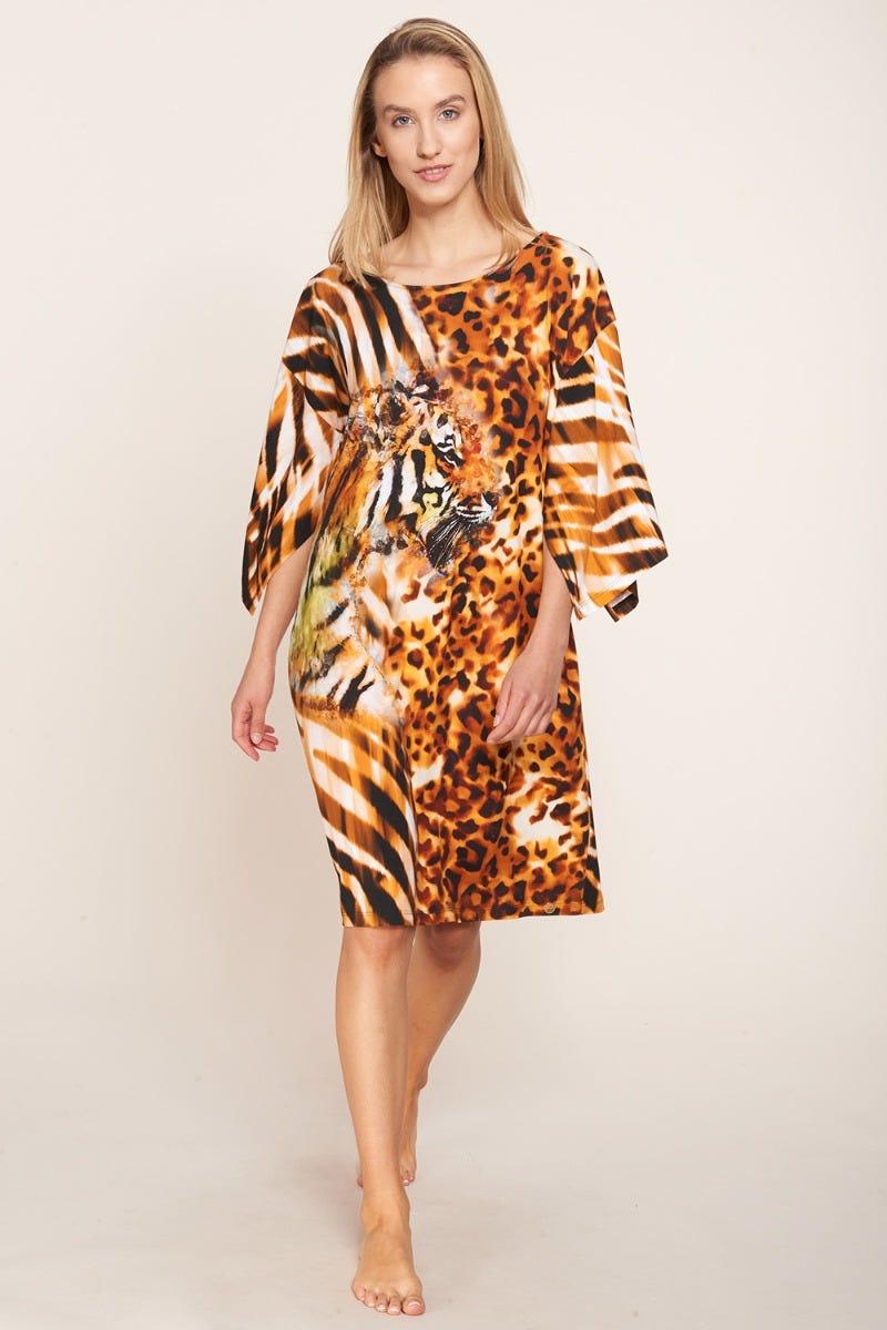 Strandtunika im Tigerprint Motivdruck exotisch Animalprint Oversize Viskose/Elasthan 3215011