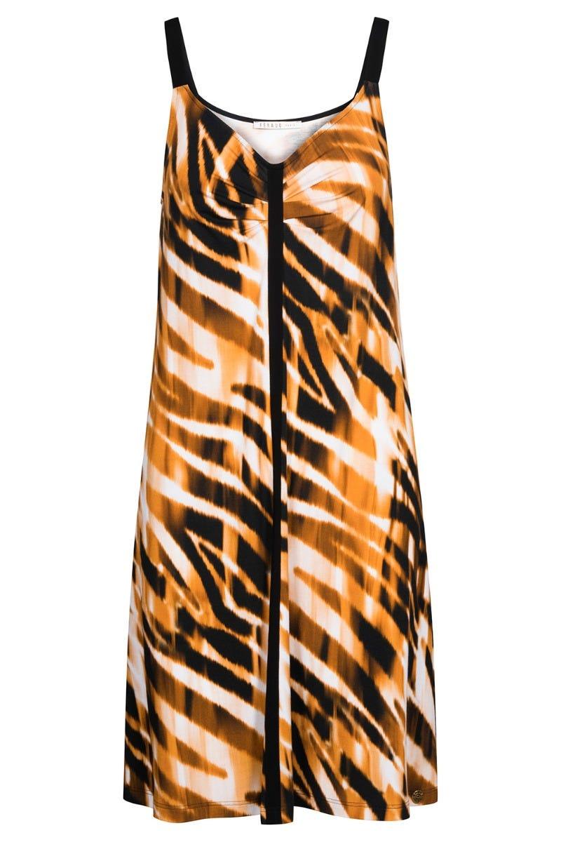 Trägerkleid im Tigerprint Spaghetti Träger Animalprint Viscose/Elasthan 3215012