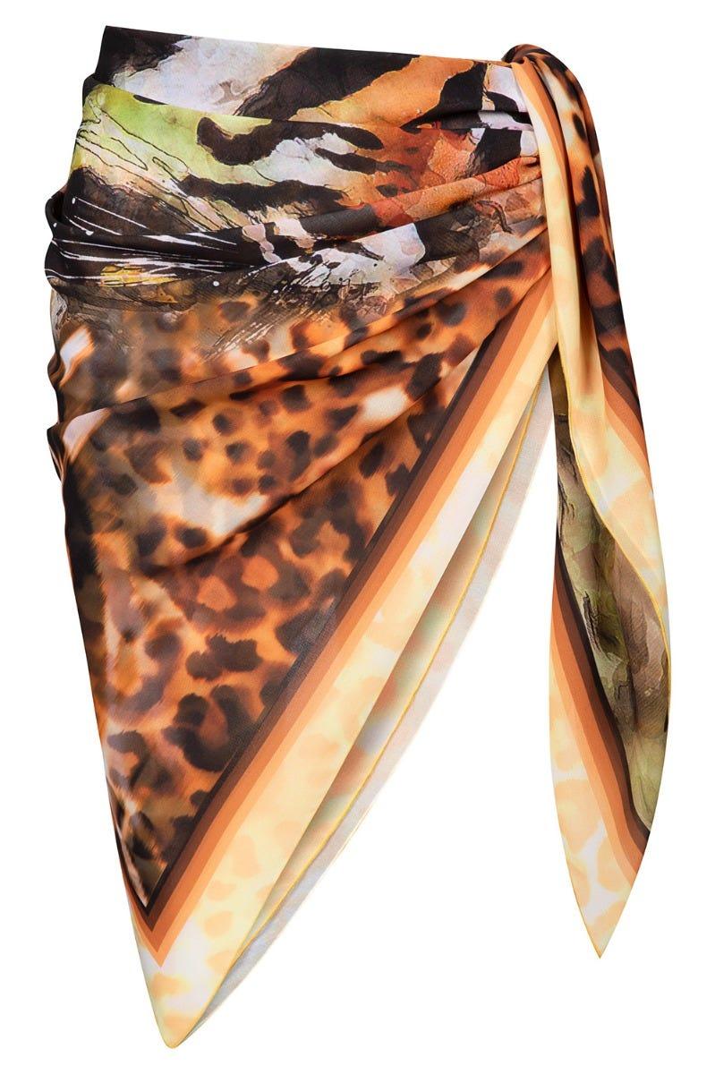 Pareo im Tigerprint Strandtuch Chiffon Webdruck exotisch Animalprint Polyester 3215013
