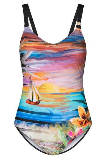Badeanzug im Landschaftsprint Sonnenuntergang Gemälde Lycra 3215020