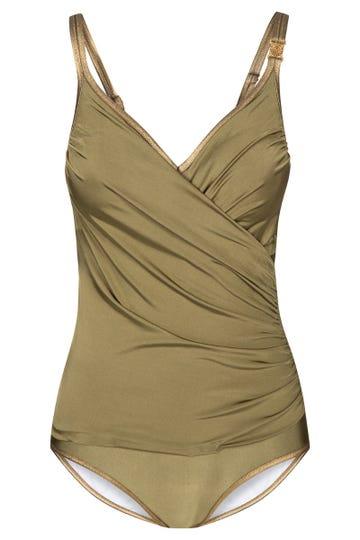 Badeanzug im Metallic-Look Olivgrün Wickelform Lycra 3215026
