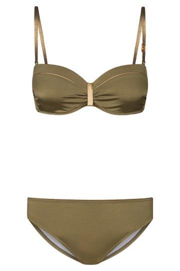 Bikini im Metallic-Look Olivgrün Wickelform Bandeau Lycra 3215029