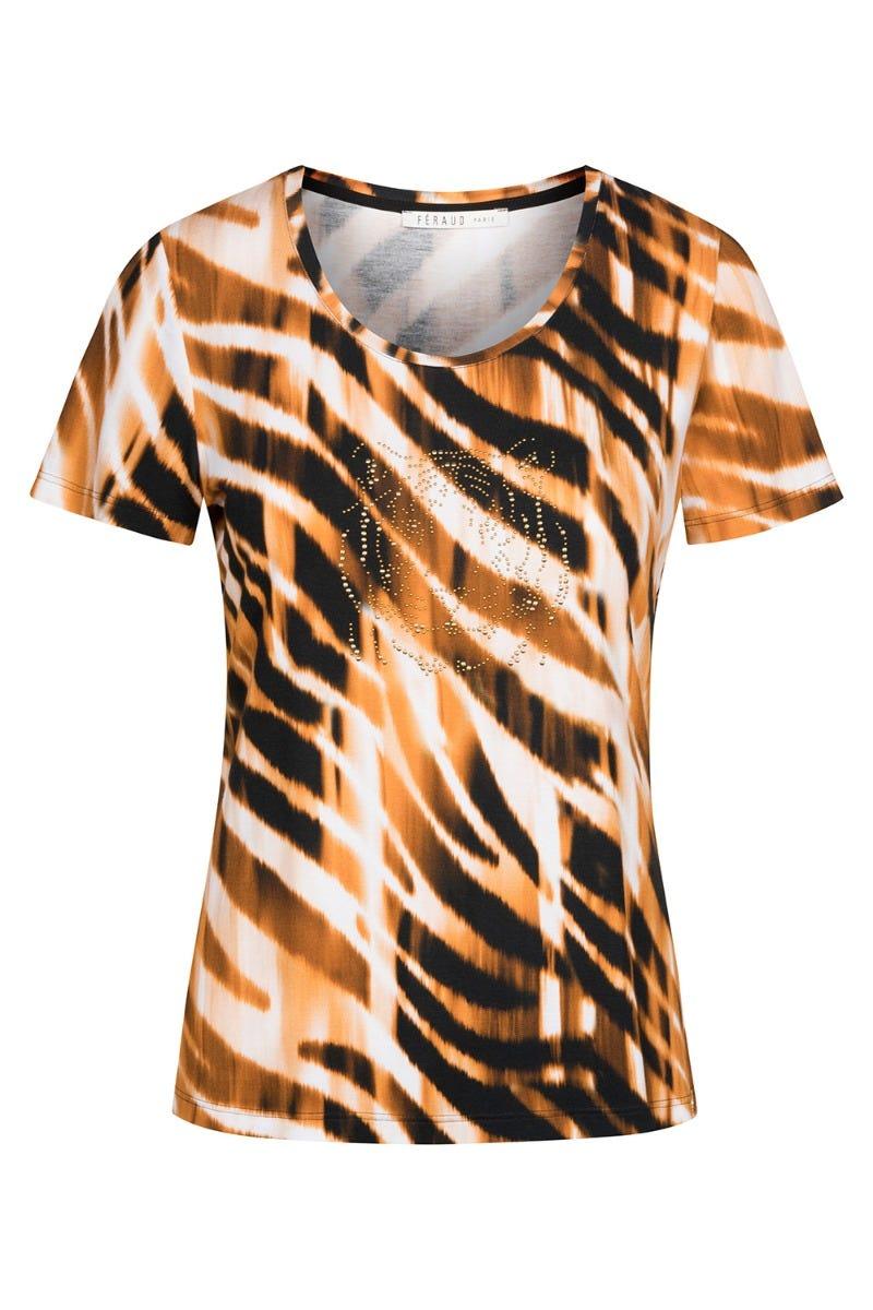 T-Shirt im Tigermotiv Pailletten Freizeitshirt exotisch Animalprint Viskose/Elasthan 3215032