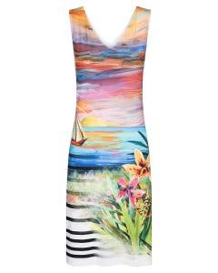 Strandkleid ärmellos im Landschaftsprint Sonnenuntergang Gemälde Viskose/Elasthan 3215051
