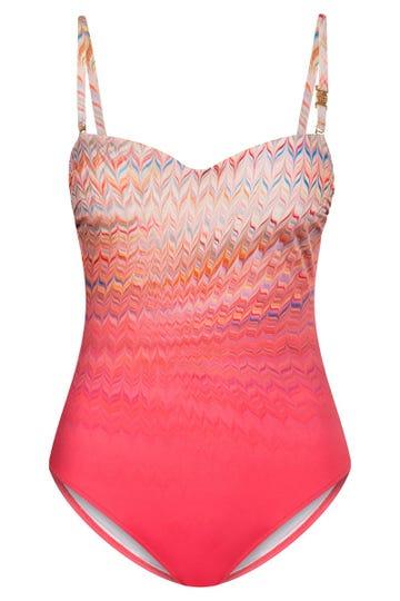 Badeanzug mit orientalischem Zackenprint grafisch Lycra Bandeau 3215060