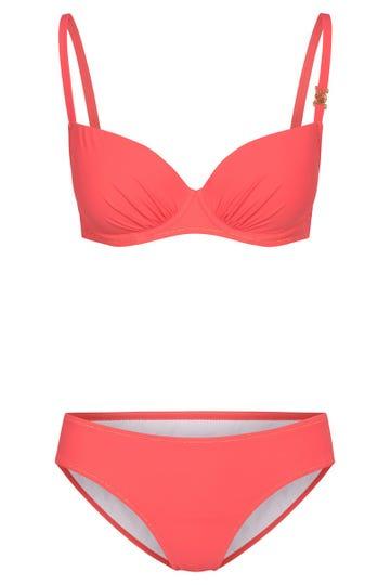 Bikini aus feiner Strukturware Koralle einfarbig Lycra 3215066