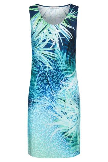 Strandkleid ärmellos im Meeresprint Unterwasserwelt Viskose/Elasthan 3215071