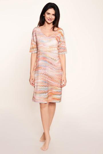 Strandkleid im orientalischen Zackenprint grafisch Viskose/Elasthan 3215093