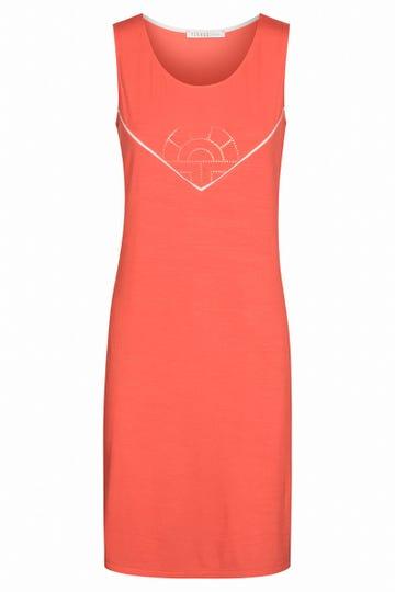 Strandkleid mit Logo- und Paspeldetail Koralle Viskose/Elasthan 3215095