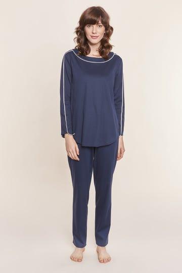 Pyjama lang mit Kontrastpaspeln Marineblau sportiv 100% Baumwolle