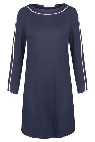 Bigshirt Langarm mit Kontrastpaspeln Marineblau sportiv 100% Baumwolle