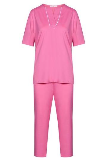 Pyjama kurzarm mit Tunika-Ausschnitt